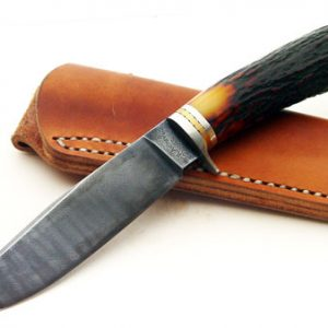 Russ Andrews ABS Master Smith forged damascus hunter fixed custom knives