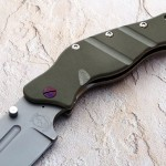 Sniper Bladeworks green folder handle folding custom knives