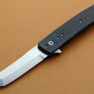 Leu Pohan zirconia folder clip folding custom knife