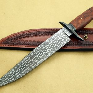 Steve Randall damascus bowie fixed custom knife Robertson's Custom Cutlery