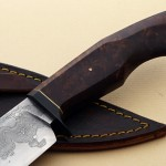 Mike Deibert damascus hunter knife handle fixed custom knives Robertson's Custom Cutlery
