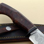 Mike Deibert damascus hunter knife back fixed custom knives