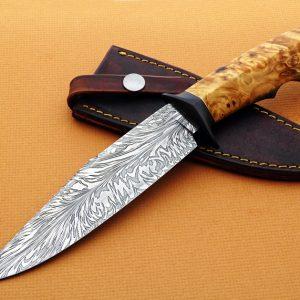 Mike Deibert ABS Journeyman Smith forged damascus fighter fixed custom knife