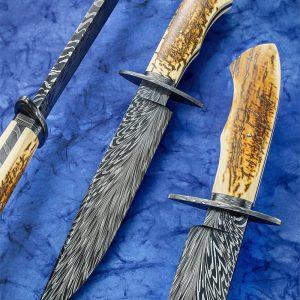 Steve Randall damascus bowie fixed custom knife
