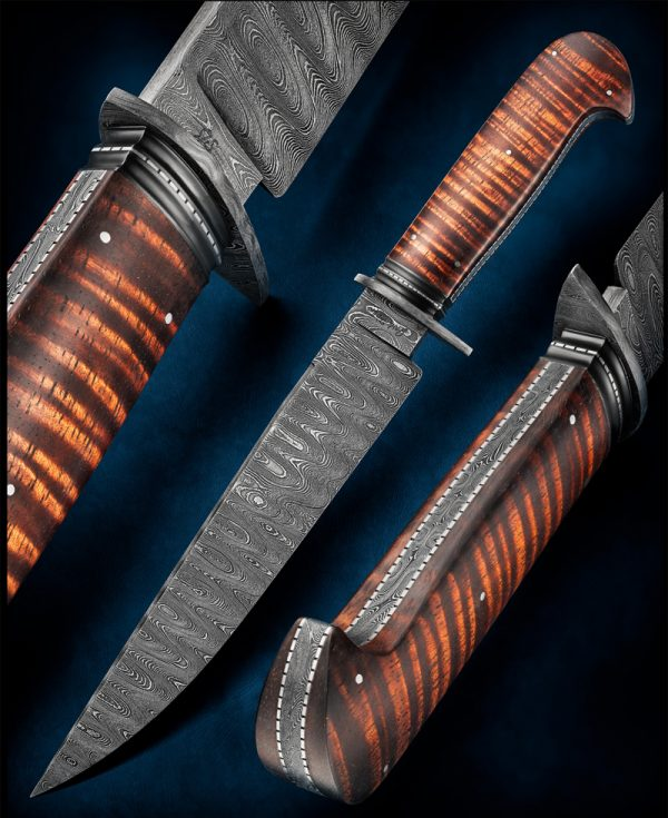 Josh Fisher ABS Journeyman Smith, forged damascus fighter fixed custom knife