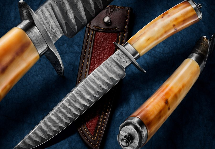 fixed custom knife Russ Andrews Damascus Walrus Ivory Fighter feature knife Robertson's Custom Cutlery damascus hunters fixed blade