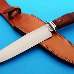 Josh Fisher forged bowie fixed custom knife, ABS Journeyman Smith