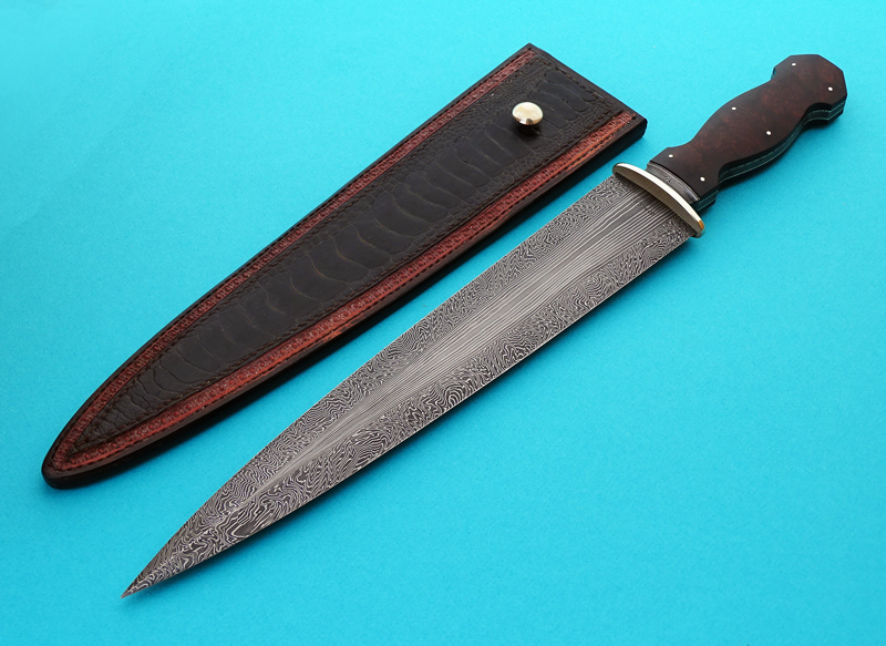Tim Hancock forged damascus dagger fixed custom knife Robertson's Custom Cutlery
