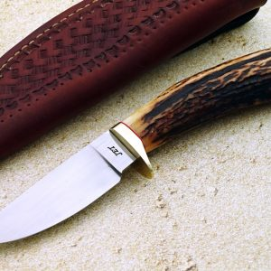 John Tilton stag forged hunter fixed custom knives, ABS Journeyman Smith