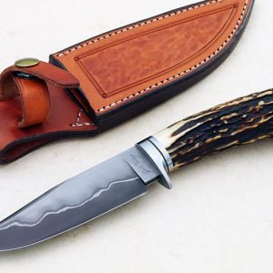 fixed custom knives Josh Fisher ABS Journeyman Smith, forged san mai stag hunter knife Robertson's Custom Cutlery hunters & skinners fixed blade