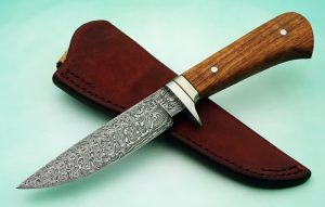 fixed custom knives Gordon Graham damascus cc hunter knife with sheath Robertson's Custom Cutlery damascus hunters fixed blade