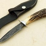fixed custom knife Jim Siska damascus and stag custom boot fighter knife Robertson's Custom Cutlery fixed blade