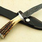 fixed custom knives Jim Siska damascus and stag custom boot fighter back Robertson's Custom Cutlery back