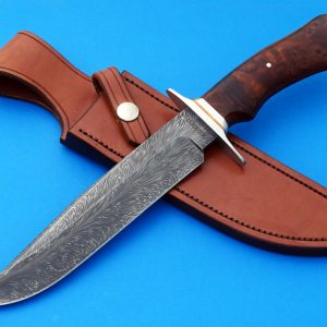 Mike Craddock Forged Feather Pattern Damascus Fighter