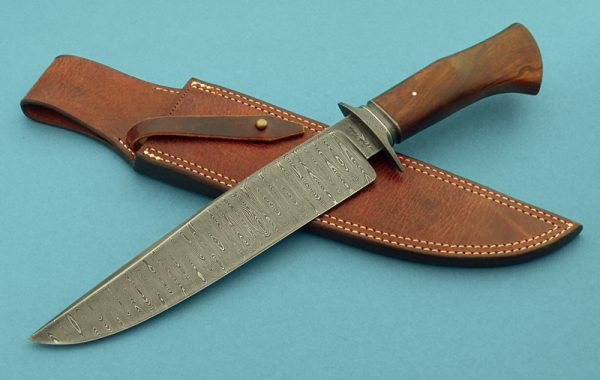 Josh Fisher Damascus Camp Knife, Ladder Pattern, Desert Ironwood, ABS Journeyman Smith