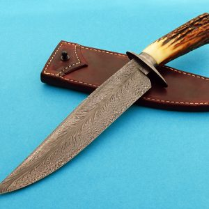 Mike Deibert Feather Damascus Bowie Custom Made Knife ABS Journeyman Smith