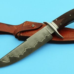 Josh Fisher Forged San Mai Checkered Desert Ironwood ABS Journeyman Smith Custom Handmade Blade Fighting Knife Fixed