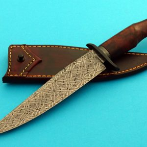 Mike Deibert Mosaic Pattern Damascus Fighter, Desert Ironwood, ABS Journeyman Smith fixed custom knife Robertson's Custom Cutlery