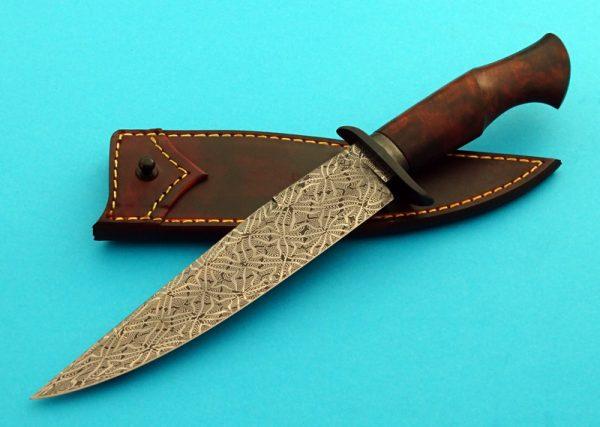 Mike Deibert Mosaic Pattern Damascus Fighter, Desert Ironwood, ABS Journeyman Smith fixed custom knife Robertson's Custom Cutlery
