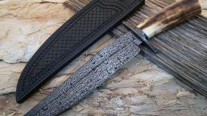 Shawn McIntyre Ladder Pattern W's Damascus Bowie Fossil Walrus Ivory Robertson's Custom Cutlery custom fixed knives