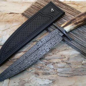 Shawn McIntyre Ladder Pattern W's Damascus Bowie Fossil Walrus Ivory Robertson's Custom Cutlery custom fixed knives
