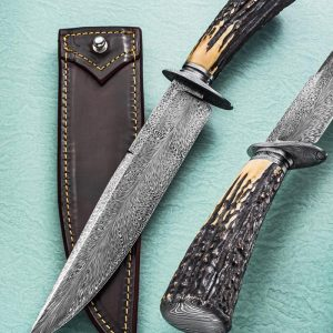 Mike Deibert Feather Damascus Bowie, Stag, ABS Journeyman Smith fixed custom knives