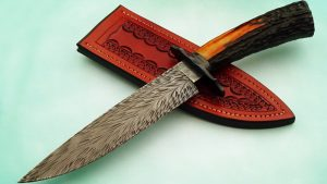 Steve Randall Curvalicious Feather Pattern Damascus Fighter, Sambar Stag, ABS Master Smith fixed custom knives