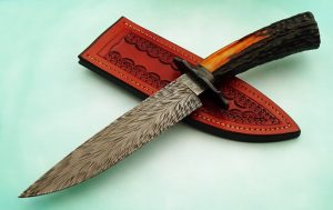 Steve Randall Curvalicious Feather Pattern Damascus Fighter, Sambar Stag, ABS Master Smith