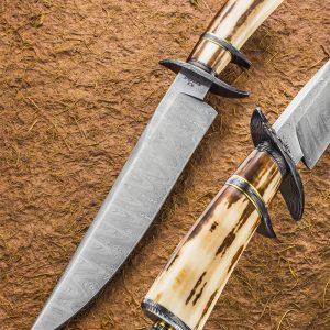 Steve Randall Ladder Damascus Sub-Hilt Bowie, Fossil Walrus Ivory, 1st Sub-Hilt Bowie Ever, ABS Master Smith, fixed custom knives Robertson's Custom Cutlery