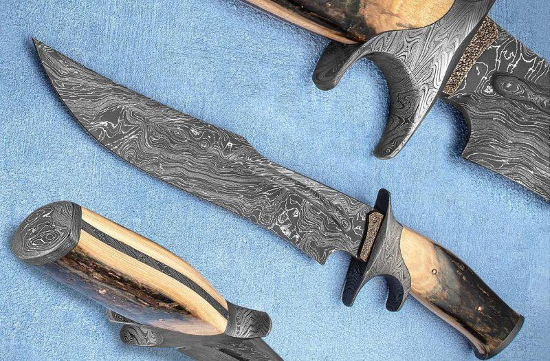 David Broadwell SG Damascus Sub-Hilt Bowie knife Ivory fixed custom knives Robertson's Custom Cutlery
