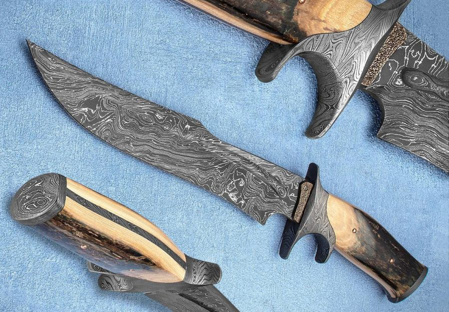 David Broadwell SG Damascus Sub-Hilt Bowie knife Ivory fixed custom knives Robertson's Custom Cutlery