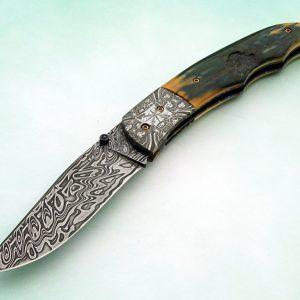 Don Hanson ABS Master Smith Mosaic Damascus Forged Folding Knife Mastodon Ivory Custom