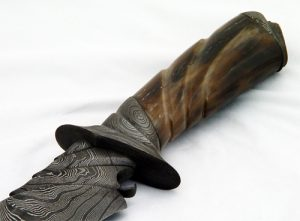 Carved Damascus and Fossil Walrus Ivory Handle by David Broadwell