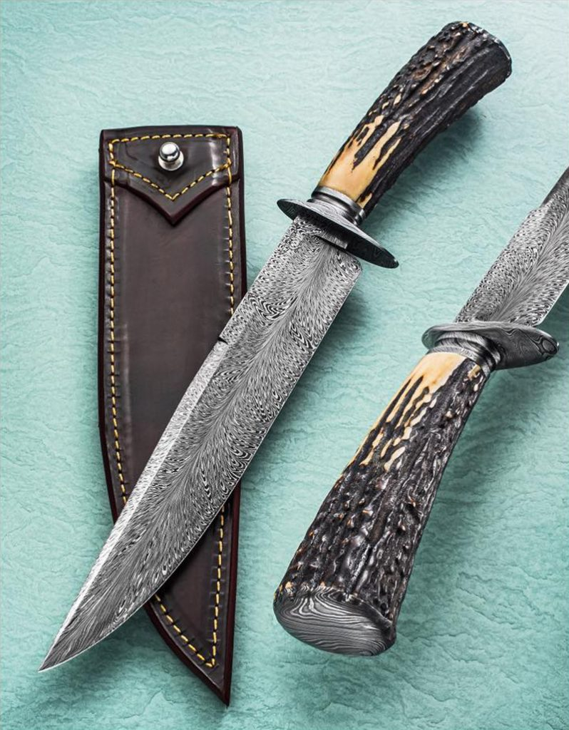 Mike Deibert Forged Feather Pattern Damascus Bowie with Stag