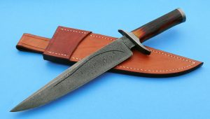 Greg Keith Forged Damascus Custom Bowie Amber Stag Knife ABS Journeyman Smith Ladder Pattern
