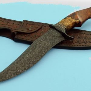Brian Sellers Forged Ladder Pattern Damascus Bowie Desert Ironwood Copper Spacers Acid Etched