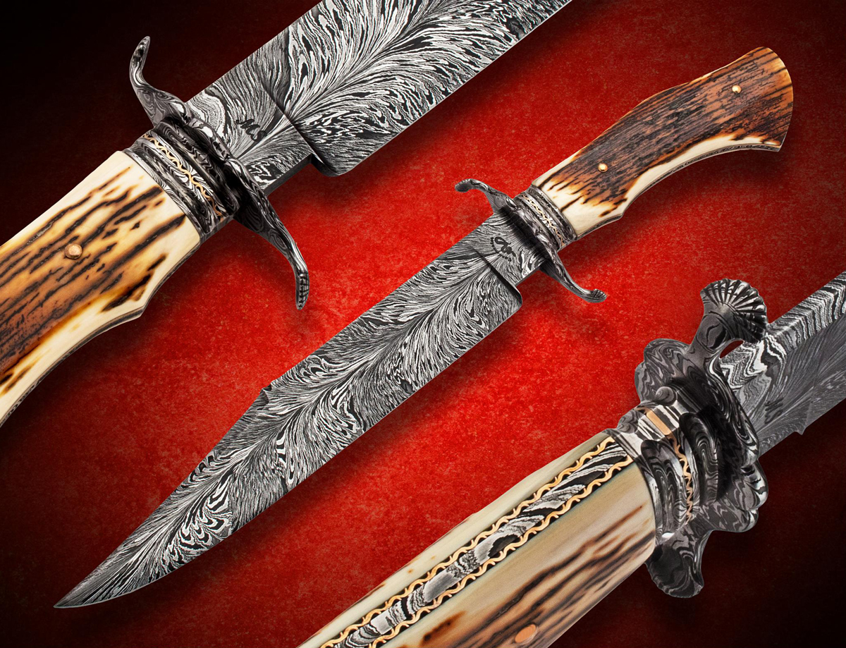 Terry Vandeventer Custom Handmade Forged Damascus Bowie Seashell Guard ABS Master Smith