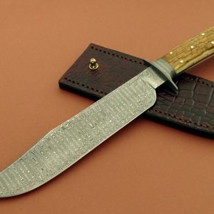 Craig Camerer Custom Damascus Frame Handle Forged Spirograph Ladder Bowie Knife Mastodon Ivory ABS Journeyman Smith Forged In Fire Champion