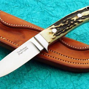 Thad Buchanan Drop Point Hunting Knife Stag Loveless Style blade custom handmade