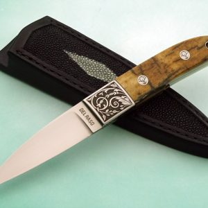 "Peter Del Raso ""Loveless"" Integral Stiff Horn Presentation Mammoth Ivory Engraved Custom Knife Marcello Pedini"