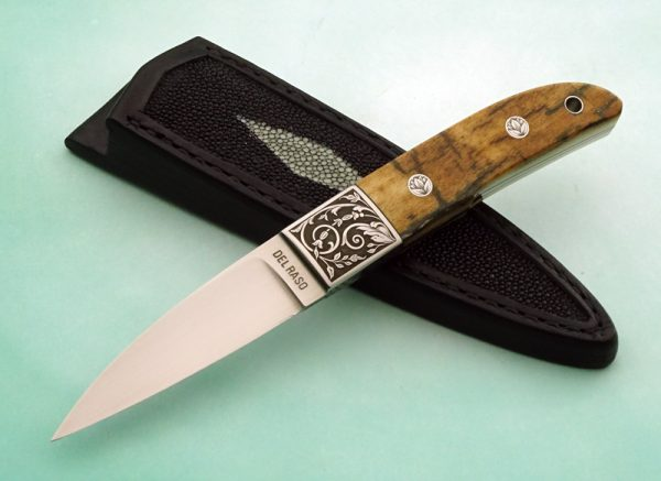 "Peter Del Raso ""Loveless"" Integral Stiff Horn Presentation Mammoth Ivory Engraved Custom Knife Marcello Pedini"