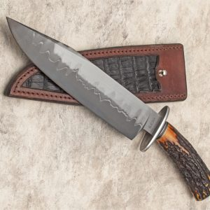 Shawn Ellis FIRST San Mai Stag Bear Pen Forged Bowie Custom Knife Forged in Fire Champion ABS Journeyman Smith