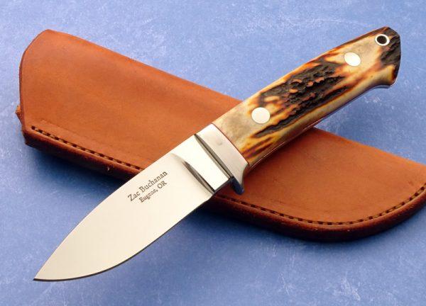Zac Buchanan Stag Drop Point Hunter Custom Knife
