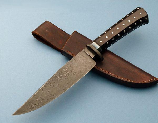 Bradshaw Custom knife Small Bowie Twist Pattern Forged Damascus ABS Master Smith