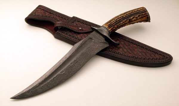 Brian Sellers Forged Fuller Damascus Stag Bowie Ladder Pattern ABS Journeyman Smith