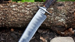 Josh Fisher San Main Damascus Stag Custom Fixed Blade