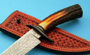 Custom Knives | Randall-Forged-Feather-Damascus-Stag-hdl