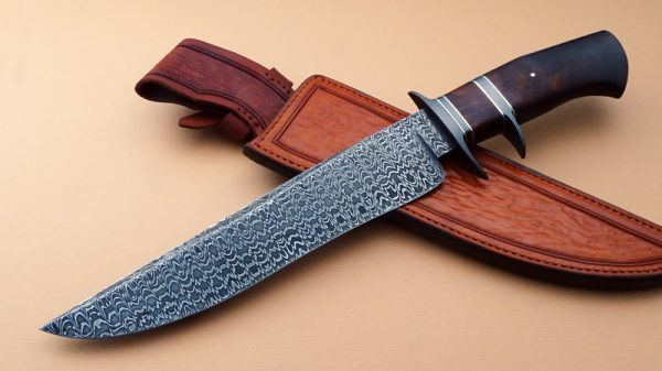 Josh Fisher Forged Damascus Sub Hilt Fighter First Sub Hilt Fighter Made Desert Ironwood ABS Journeyman Smith