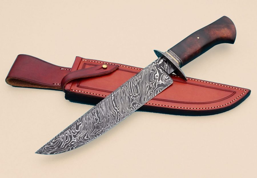 Josh Fisher ABS Journeyman Smith Forged Custom Damascus Twist Pattern Camp Knife Frame Handle