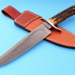 Greg Keith Damascus Custom Knife Forged Ladder Pattern Sambar Stag ABS Journeyman Smith